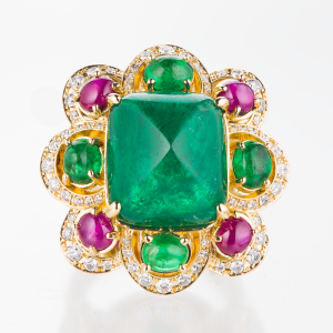 Colombian sugarloaf emerald, emerald cabochon, star ruby and diamond ring